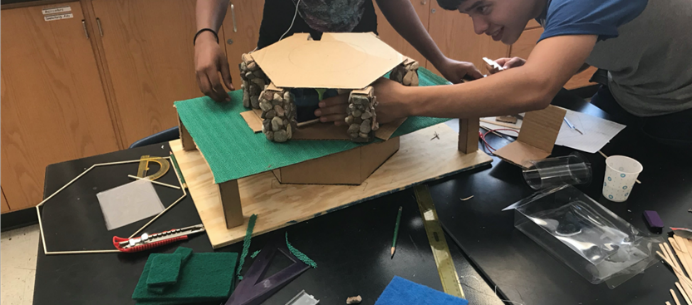 Arizona 4-H youth building a model greenhouse