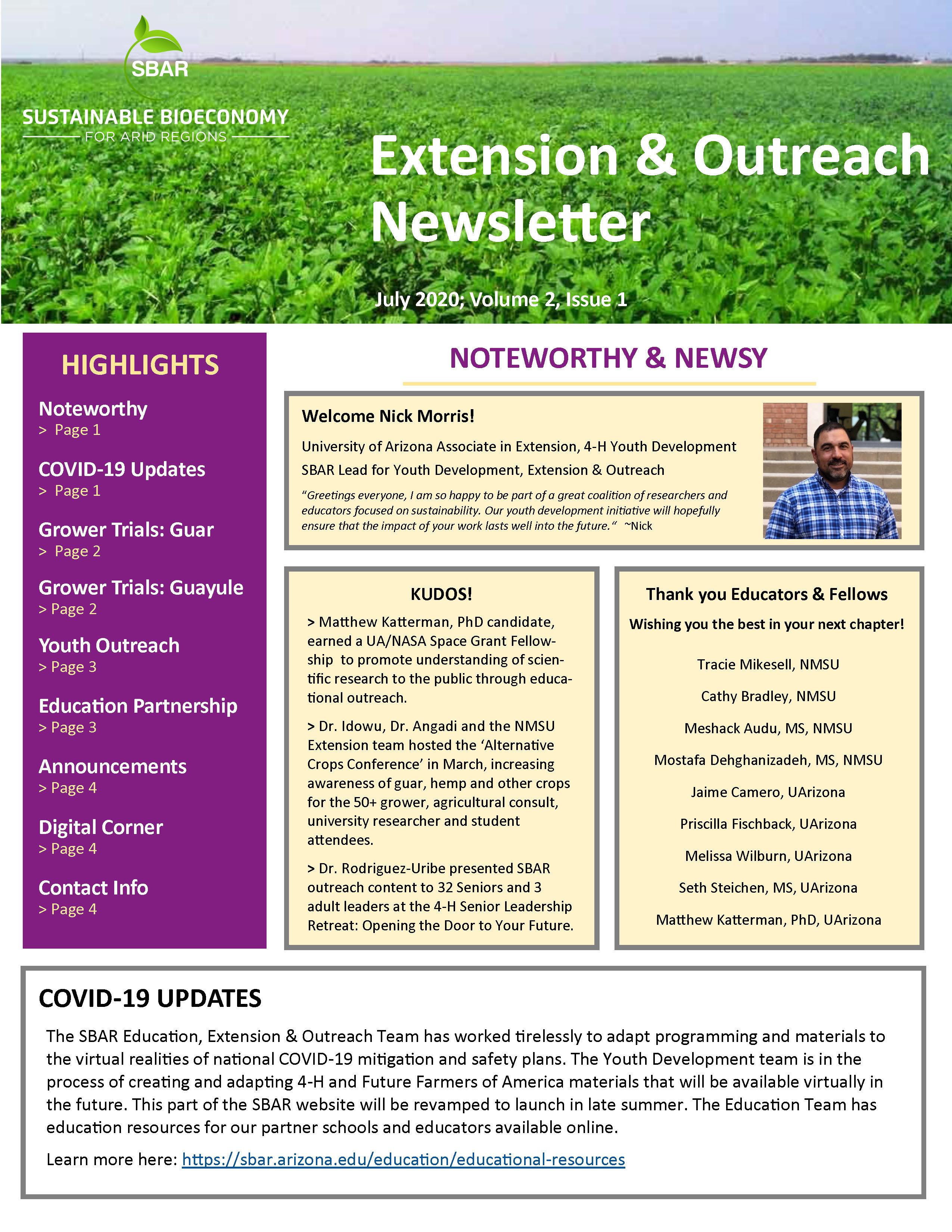 SBAR Extension-Outreach Newsletter 2020 vol 1