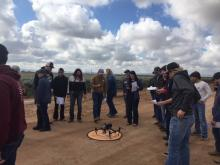 UArizona Students visit the SBAR guayule fields at the Maricopa Agricultural Center.