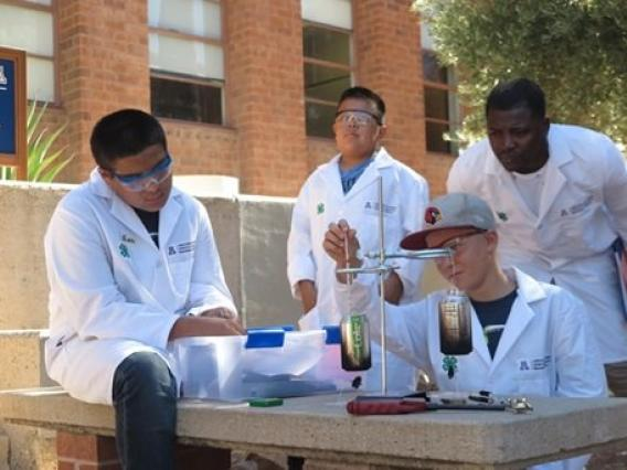 Hands-on experiments are conducted by student teams during biofuel camp