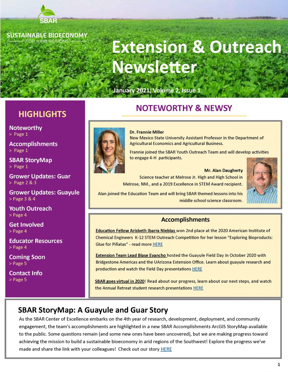 SBAR Extension and Outreach Newsletter Jan 2021