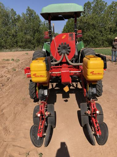 Two-row planter adapted for planting guar